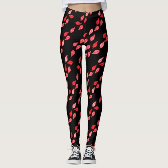 Breezy Red Leaves Leggings