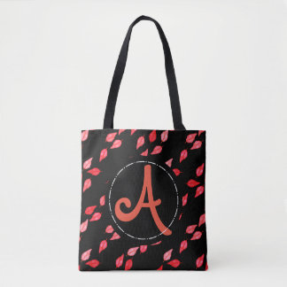 Breezy Red Leaves with Custom Text Tote Bag