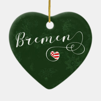 Bremen Heart, Christmas Tree Ornament, Germany Ceramic Ornament