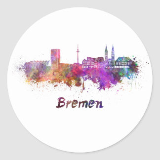 Bremen skyline in watercolor classic round sticker