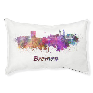 Bremen skyline in watercolor small dog bed