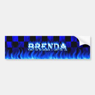 Brenda blue fire and flames bumper sticker design.