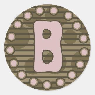 Brenda in Brown Monogram Round Sticker
