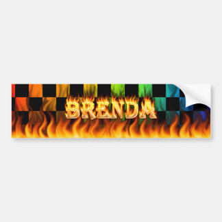 Brenda real fire and flames bumper sticker design.