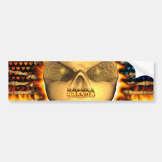 Brenda skull real fire and flames bumper sticker