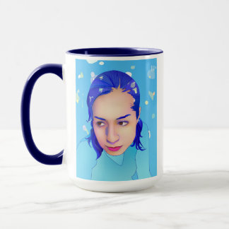Brenda with blue bottom and lights mug
