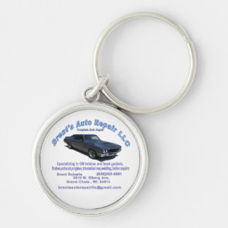 BRENTS AUTO REPAIR Silver-Colored ROUND KEYCHAIN