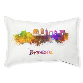 Brescia skyline in watercolor pet bed