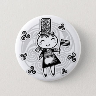 Breton girl 2 inch round button