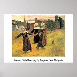 Breton Girls Dancing By Eugene Paul Gauguin Poster