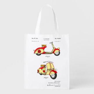Brevet de bicyclette de moteur Circa 1949 - rouge Sacs D'épicerie Réutilisables