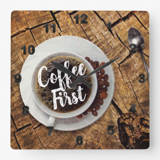 Brewed Coffee First Square Wall Clock