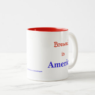 Brewed in America red white and blue coffee cup