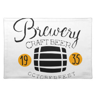 Brewery Logo Design Template With Barrel Placemat