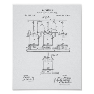 Brewing beer and ale 1873 Patent Art - White Paper Poster