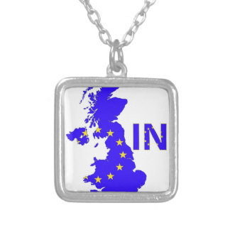 "BREXIT ""IN"" UNION JACK SILVER PLATED NECKLACE"
