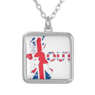 BREXIT OUT UNION JACK SILVER PLATED NECKLACE
