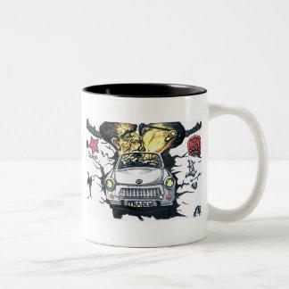 Brezhnev & Honecker, Trabant Car , Berlin (pst) Two-Tone Coffee Mug