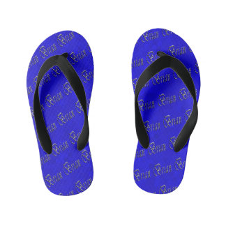 Brian, Name, Logo, On Blue Mosaic, Kid's Flip Flops