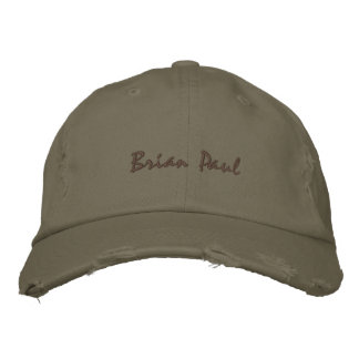 Brian Paul Destroyed Vintage Hate Army Green Embroidered Hats