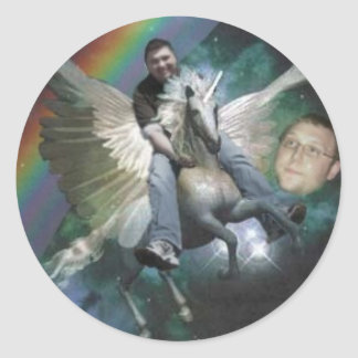 brian unicorn.3 jpg classic round sticker