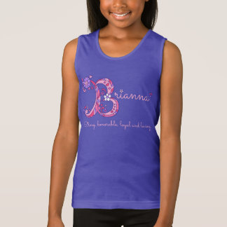Brianna girls B name meaning pink lettering shirt