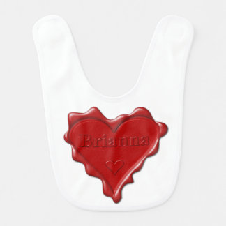 Brianna. Red heart wax seal with name Brianna Baby Bibs