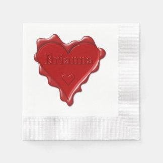 Brianna. Red heart wax seal with name Brianna Napkin