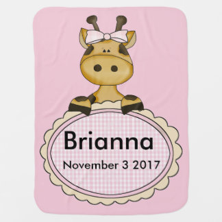 Brianna's Personalized Giraffe Baby Blankets