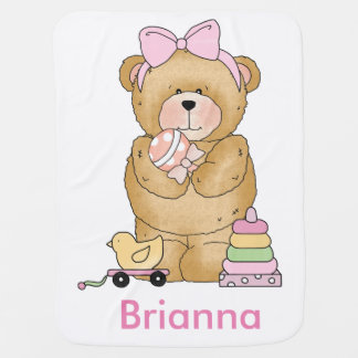 Brianna's Teddy Bear Personalized Gifts Stroller Blanket