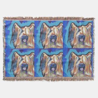 Briard Dog fun bright pop art Throw Blanket