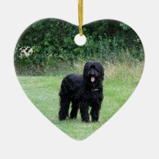 Briard dog hanging heart ornament, pendant, gift ceramic ornament