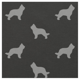 Briard Dog Silhouettes Pattern Fabric