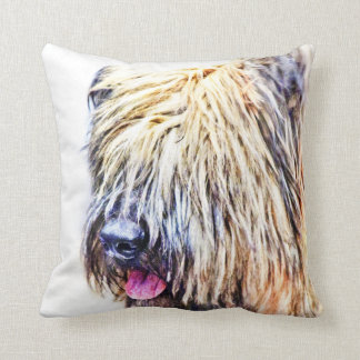 Briard dog throw pillow