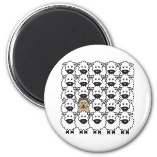 Briard in the Sheep 2 Inch Round Magnet