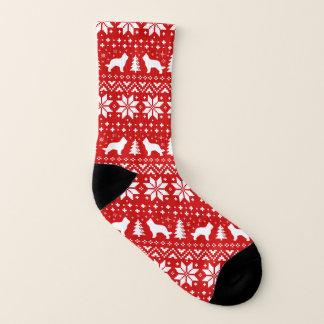 Briard Silhouettes Red Christmas Pattern Socks
