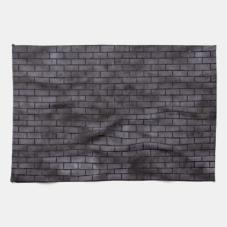 BRICK1 BLACK MARBLE & BLACK WATERCOLOR (R) KITCHEN TOWEL