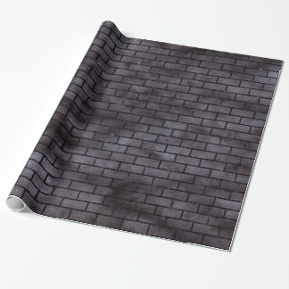 BRICK1 BLACK MARBLE & BLACK WATERCOLOR (R) WRAPPING PAPER