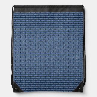 BRICK1 BLACK MARBLE & BLUE DENIM (R) DRAWSTRING BAG