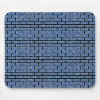BRICK1 BLACK MARBLE & BLUE DENIM (R) MOUSE PAD