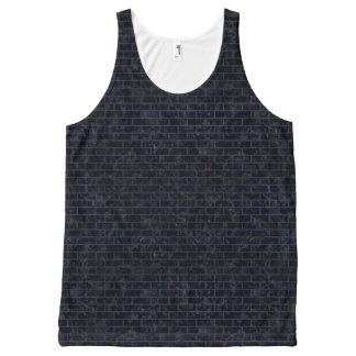 BRICK1 BLACK MARBLE & BLUE LEATHER All-Over-Print TANK TOP