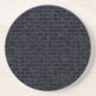 BRICK1 BLACK MARBLE & BLUE LEATHER COASTER