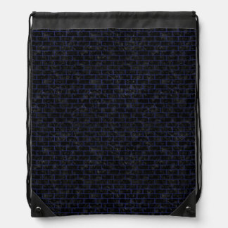 BRICK1 BLACK MARBLE & BLUE LEATHER DRAWSTRING BAG