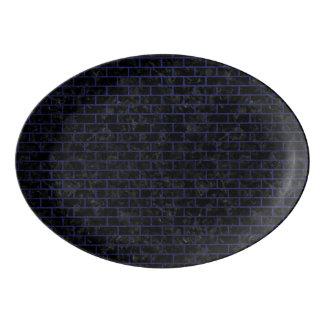BRICK1 BLACK MARBLE & BLUE LEATHER PORCELAIN SERVING PLATTER