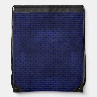 BRICK1 BLACK MARBLE & BLUE LEATHER (R) DRAWSTRING BAG