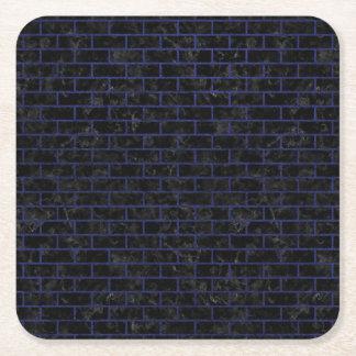 BRICK1 BLACK MARBLE & BLUE LEATHER SQUARE PAPER COASTER