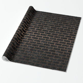 BRICK1 BLACK MARBLE & BRONZE METAL WRAPPING PAPER