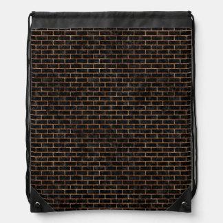 BRICK1 BLACK MARBLE & BROWN STONE DRAWSTRING BAG
