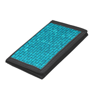 BRICK1 BLACK MARBLE & TURQUOISE MARBLE (R) TRIFOLD WALLET