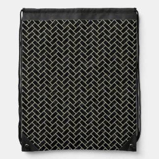 BRICK2 BLACK MARBLE & BEIGE LINEN DRAWSTRING BAG